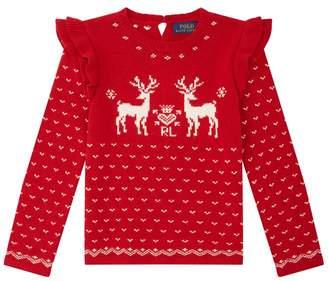 Polo Ralph Lauren Reindeer Ruffle Sleeve Jumper
