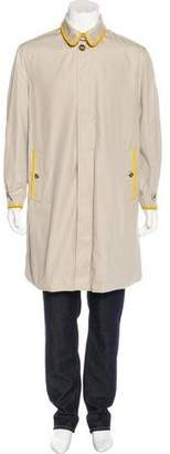 Burberry Leather-Trimmed Gabardine Car Coat
