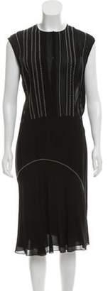 Bottega Veneta Semi-Sheer Sleeveless Midi Dress Black Semi-Sheer Sleeveless Midi Dress