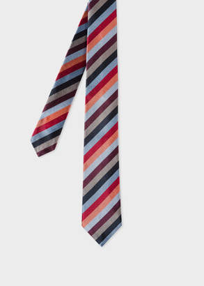 Paul Smith Men's Light Blue Multi-Coloured Diagonal Stripe Narrow Silk Tie