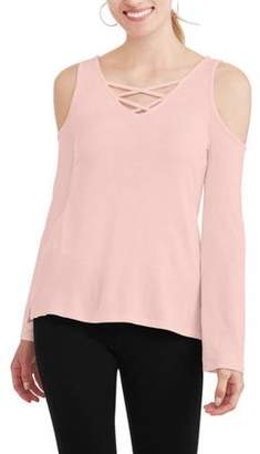 No Comment Women's Long Sleeve Cold Shoulder T-Shirt with Caging Detail
