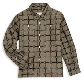 Burberry Little& Boy's Beagle Grid Cotton Shirt
