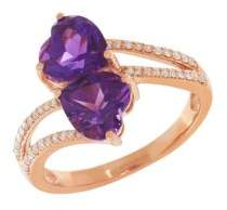 Lord & Taylor Diamond, Amethyst and 14K Rose Gold Ring