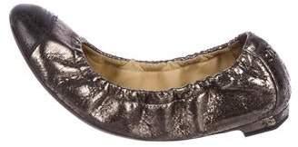 Chanel Metallic Leather CC Flats