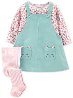 Carter's 3-Pc. Baby Girls Cotton Jumper, Shirt & Tights Set