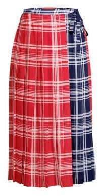 Tommy Hilfiger Collection Tommy Hilfiger Collection Women's Pleated Madras Wrap Skirt - True Red Multi - Size 6