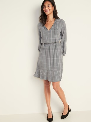 Old Navy Plaid Waist-Defined Tie-Neck Dress for Women