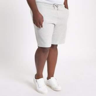 River Island Mens Big and Tall light grey pique shorts