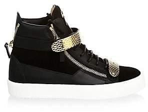 Giuseppe Zanotti Men's Double-Bar Suede High-Top Sneakers