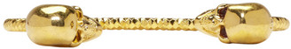 Alexander McQueen Gold Twin Skull Bracelet $330 thestylecure.com