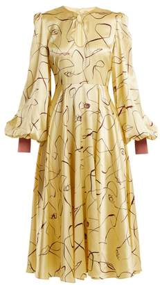 Roksanda - Herona Abstract Print Silk Satin Dress - Womens - Yellow Multi