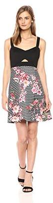 GUESS Women's Scuba Fit and Flare Dress with Floral Print Skirt