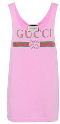 Gucci Printed cotton tank top