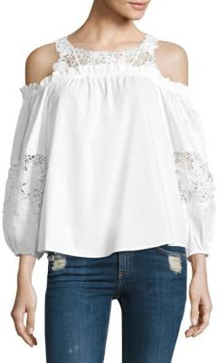 Parker Auburn Cotton Lace Cold Shoulder Blouse $265 thestylecure.com