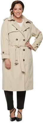 London Fog Tower By Plus Size TOWER by Double-Breasted Belted Trench Coat