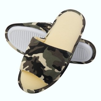 AERUSI Scout's Comfy Camouflage Unisex Polyester Memory Foam Slippers With No-Slip Rubber Sole And Arch Support For Indoor Or Outdoor Daily Use