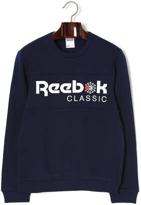 Reebok (リーボック) - Reebok ロゴプリント スウェット クルーネック 長袖トップ カレッジネイビー/カレッジネイビー j/m