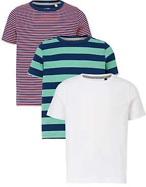 Boys' Stripe Plain T-Shirts, Pack of 3