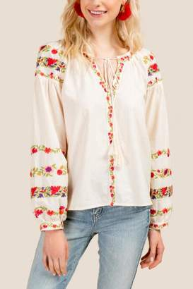 Michelle Embroidered Tassel Tie Blouse - Ivory