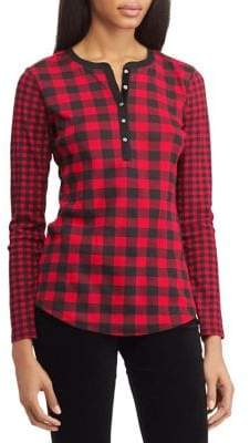 Chaps Petite Checked Cotton Long-Sleeve Tee