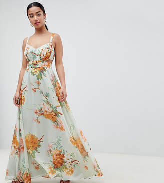 Asos DESIGN Petite maxi dress with side cut out in green floral print