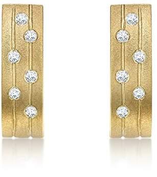 1fabb4b5a Carissima Gold 9 ct Yellow Gold 0.12 ct Diamond Satin Curved Bar Drop  Earrings