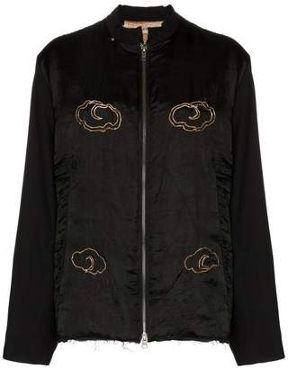 By Walid distressed detail embellished bomber jacket