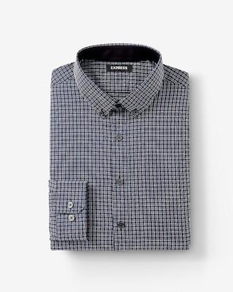 Express Extra Slim Fit Plaid Button Collar Performance Shirt