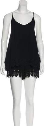 MISA Los Angeles Lace-Accented Romper