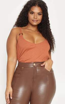 PrettyLittleThing Plus Rust Knit Tortoise Ring Cami Top
