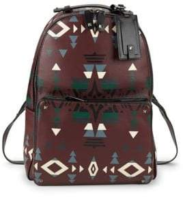 Valentino Ikat Print Leather Backpack