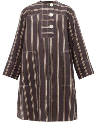 Lee Mathews - Granada Striped Ramie Shirt Dress - Womens - Black
