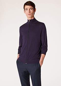 Men's Purple Merino-Wool Zip-Through Cardigan