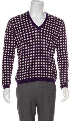 Etro Checked Intarsia V-Neck Sweater
