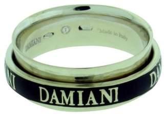 Damiani 18K White Gold & Diamond Twister Double Band Ring Size 7.5