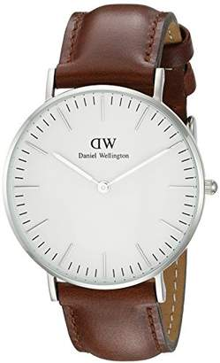 Daniel Wellington St Andrews Silver Women's Quartz Watch with White Dial Analogue Display and Brown Leather Strap 0607DW