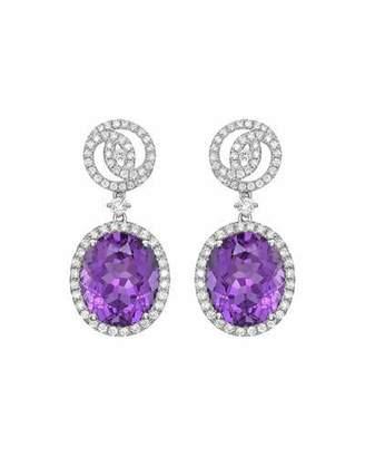Kiki McDonough Signature 18k White Gold Diamond & Amethyst Drop Earrings