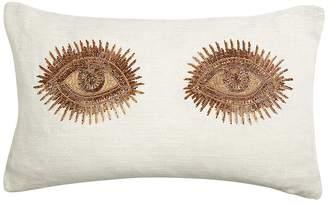 Jonathan Adler Muse Beaded-Eye Linen Pillow