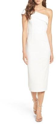 Women's Katie May One-Shoulder Midi Sheath Dress $260 thestylecure.com