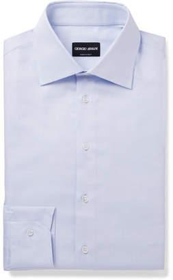 Light-Blue Slim-Fit Pin-Dot Cotton Shirt