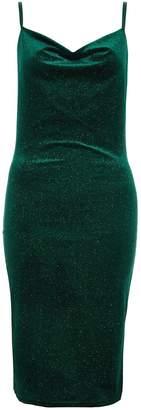 Quiz Bottle Green Velvet Glitter Midi Dress