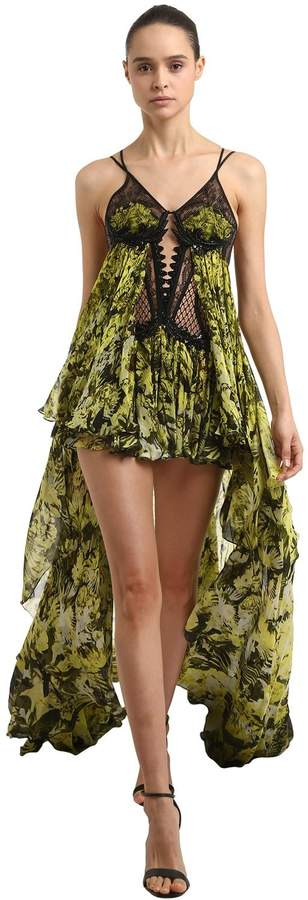 Asymmetric Embroidered Cut Outdress