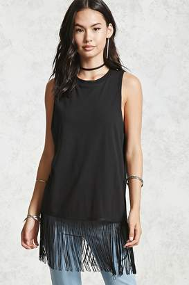 Forever 21 Raw-Cut Fringe Tank Top