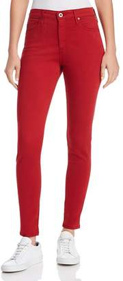 AG Jeans Farrah Ankle Skinny Brushed-Sateen Jeans in Red Amaryllis