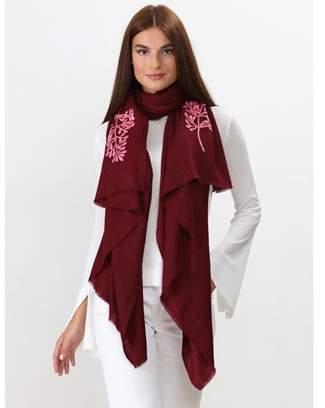 Qasmyr Hand Woven Sham Fern Embroidered Cashmere Shawl.