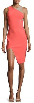 Thierry Mugler Sleeveless Mega Milano Mesh-Inset Dress, Coral $1,845 thestylecure.com