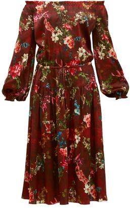 Adriana Iglesias Creek Grapevine Print Silk Blend Dress - Womens - Burgundy Print