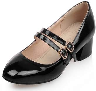 b8e8800a024 KingRover Women s Sexy Buckle Double Strap Square Toe Block Heels Mary Jane  Pumps Shoes