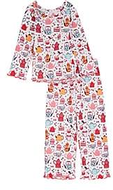 Sara's Prints KIDS' TEAPOT-PRINT COTTON-BLEND PAJAMA SET - WHITE SIZE 8 YRS