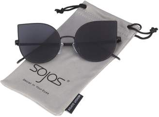 Cat Eye SojoS Mirrored Flat Lenses Ultra Thin Light Metal Frame Women Sunglasses SJ1022 With Grey Lens